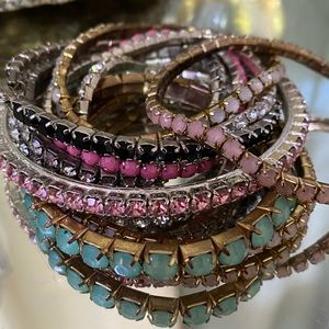 Lot of 10 rhinestone bracelets, 1 signed Givenchy